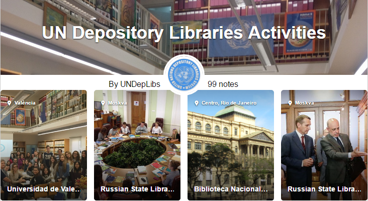 List and map showing UN Depository Libraries Activities around the world