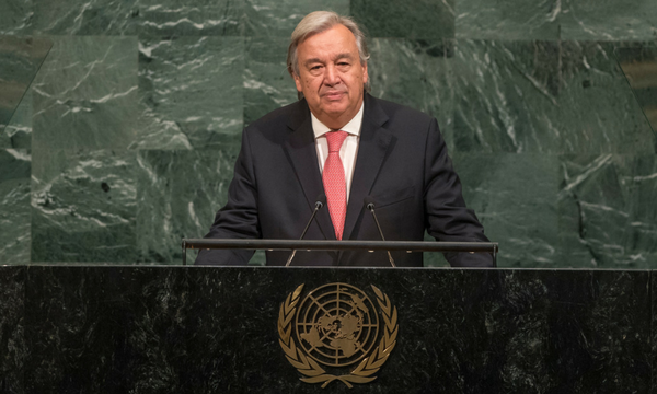 Secretary-General António Guterres giving a speech