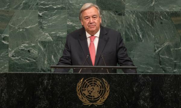 Secretary-General António Guterres giving a speech