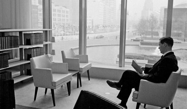 Reader in second-floor reading room in 1961, UN Photo