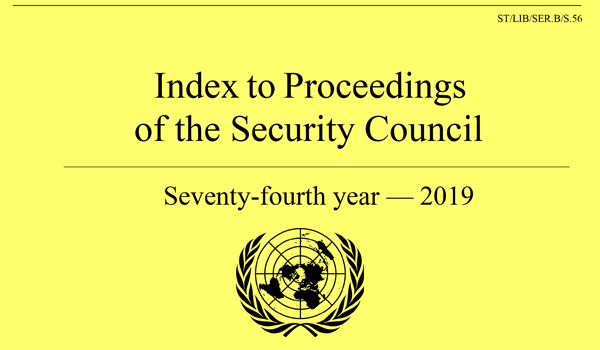 Index to Proceedings - Security Council